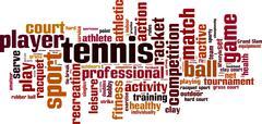 Tennis word cloud - stock illustration