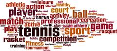 Tennis word cloud - stock illustration