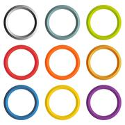 Collection of 9 isolated circle frames with white copyspace Stock Illustration