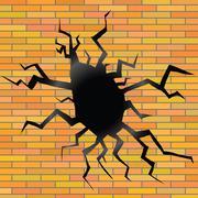 crack on a brick background - stock illustration