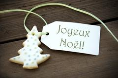 Christmas Label with Joyeux Noel - stock photo