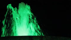 Green Water Fountain at Night Stock Footage