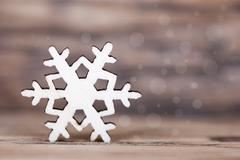 Snowflake with Bokeh Background, Winter or Christmas Background Stock Photos