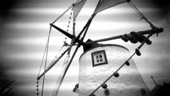 Windmill, Black n White in Motion Stock Footage