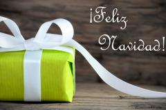 Green Gift with Feliz Navidad Stock Photos