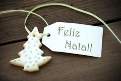 Christmas Label with Feliz Natal - stock photo