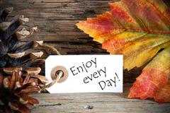 An Autumn Label with the Words Enjoy every Day, on Wood - stock photo