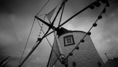 Black n White Windmill - stock footage
