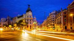 Gran Via in Madrid Stock Footage