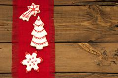 Christmas Cookies on Red Drapery - stock photo