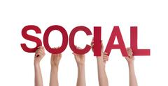 Many People Holding the Red Word Social, Isolated - stock photo