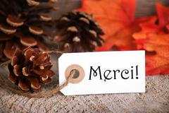 Autumn Label with the French Word Merci, which means Thanks - stock photo