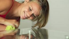Woman Cleaning Glass Table With Wipe Doing Chores Stock Footage