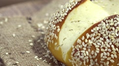 Sesame Pretzel Roll (seamless loopable) Stock Footage