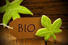 Brown Organic Label With German Text Bio - stock photo