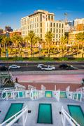 Staircase at the Convention Center and view of buildings in the Gaslamp Quart - stock photo