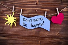 Blue Label With Life Quote Dont Worry Be Happy - stock photo