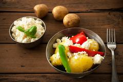 Healthy Food On A Wooden Background Stock Photos