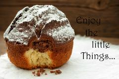 Homemade Cake With Life Quote Enjoy The Little Things Stock Photos
