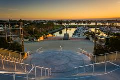 View of a staircase and the Embarcadero at sunset, in San Diego, California. Stock Photos