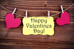 Yellow Label With Happy Valentines Day Stock Photos
