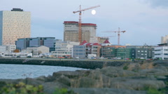 Moon Over Reykjavik City Iceland Europe Stock Footage