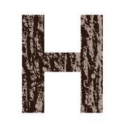 Stock Illustration of letter H made from oak bark