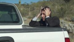 Businessman With Truck Broken Down Stock Footage