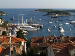 Beautiful view on Hvar bay and islands - stock photo