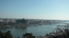 Budapest - Hungary - city panorama from Buda Castle Stock Footage