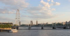 The London Eye & River Thames at Golden Hour | 4k Timelapse - stock footage