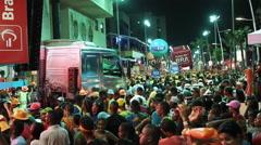 Crowd at Brazilian Carnaval in Salvador, Bahia, Brazil Stock Footage