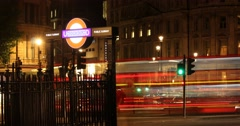 Charing Cross London Underground Sign at Night | 4k Timelapse Stock Footage