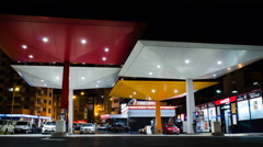 4K Petrol Station Time Lapse At Night Stock Footage