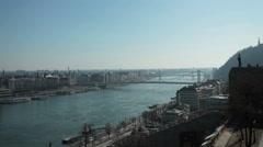 Budapest - Hungary - city panorama from Buda Castle Stock Footage