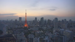Beautiful Tokyo Tower twilight cityscape aerial view building suburb landmark  Stock Footage