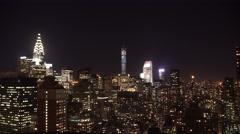 New York City Skyline at night. Stock Footage