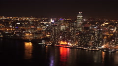 New York and Long Island City Skyline at night. Stock Footage