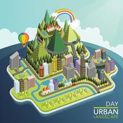 flat 3d isometric urban landscape illustration - stock illustration