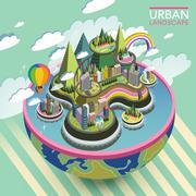 flat 3d isometric lovely urban landscape - stock illustration
