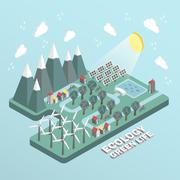 Stock Illustration of flat 3d isometric ecology green life concept illustration