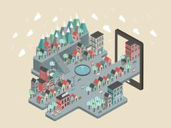 flat 3d isometric city scenery illustration - stock illustration