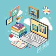 Flat 3d isometric e-learning concept illustration Stock Illustration