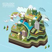 Flat 3d isometric lovely island landscape Stock Illustration