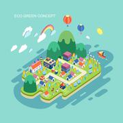 flat 3d isometric eco green concept illustration - stock illustration
