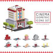 Flat 3d isometric cinema icons set illustration Stock Illustration