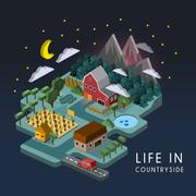 flat 3d isometric life in countryside illustration - stock illustration