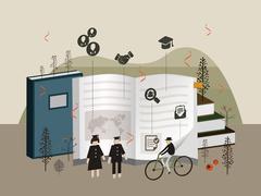 Flat 3d isometric university graduation illustration Piirros