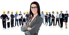 Confident woman leading a business team Stock Photos