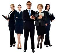 Elite young smiling business team - stock photo